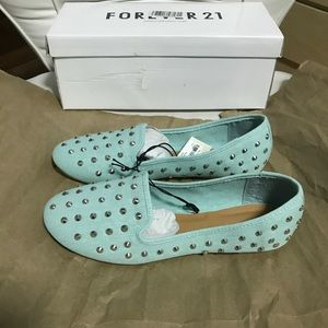 NWOT Forever 21 Mint Studded Loafers